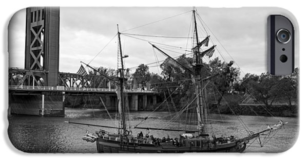 Tall Ship iPhone Cases - Sacramentos Tower Bridge And Ship iPhone Case by Mountain Dreams