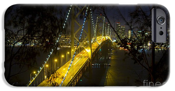 Bay Bridge iPhone Cases - San Francisco Skyline at Night iPhone Case by ELITE IMAGE photography By Chad McDermott