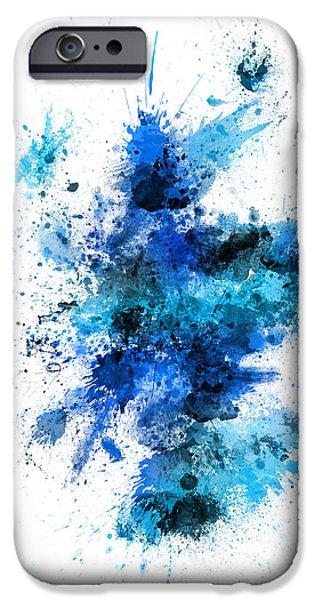 Paint Digital iPhone Cases - Scotland Paint Splashes Map iPhone Case by Michael Tompsett