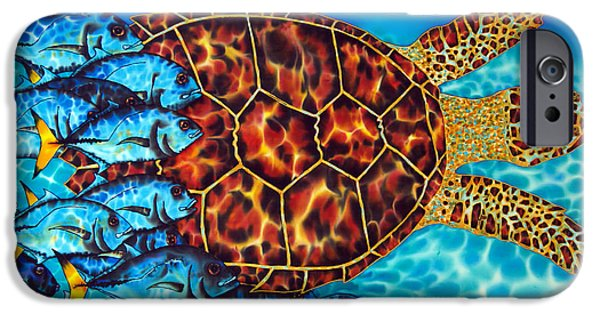 Animal Cards Tapestries - Textiles iPhone Cases - Sea  Turtle iPhone Case by Daniel Jean-Baptiste