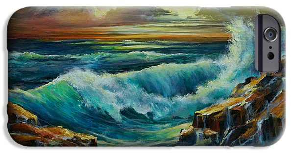 Moody Paintings iPhone Cases - Seascape iPhone Case by Michael Lang