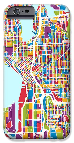 Washington Digital Art iPhone Cases - Seattle Washington Street Map iPhone Case by Michael Tompsett