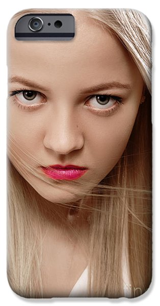 Thinking iPhone Cases - Serious Blond iPhone Case by Aleksey Tugolukov
