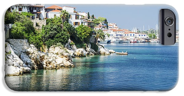 Village Pyrography iPhone Cases - Skiathos Island, Greece iPhone Case by Jelena Jovanovic