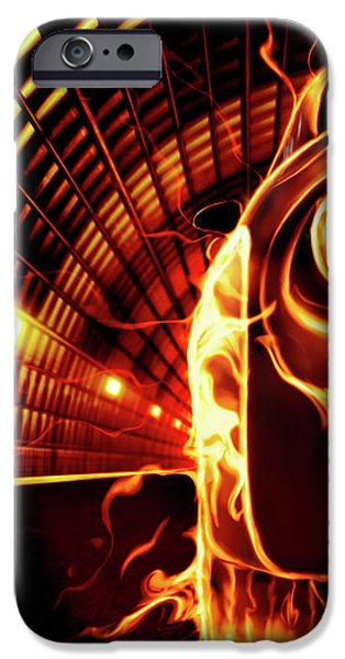 Sports Car in Flames iPhone Case by Oleksiy Maksymenko