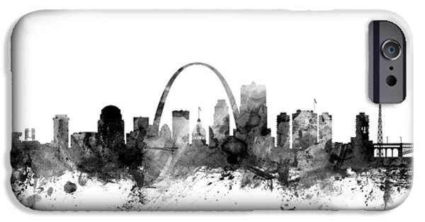 United States iPhone Cases - St Louis Missouri Skyline iPhone Case by Michael Tompsett
