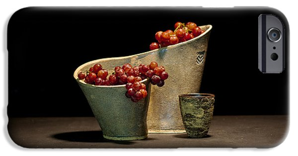 Ceramics iPhone Cases - Still Life with Grapes iPhone Case by William Sulit