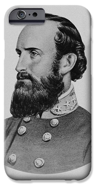 War Drawings iPhone Cases - Stonewall Jackson iPhone Case by War Is Hell Store