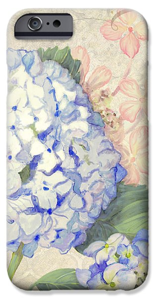 Blossom Mixed Media iPhone Cases - Summer Memories - Blue Hydrangea n Butterflies iPhone Case by Audrey Jeanne Roberts