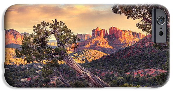 Sedona iPhone Cases - Sunset at Cathedral Rock iPhone Case by Alexey Stiop