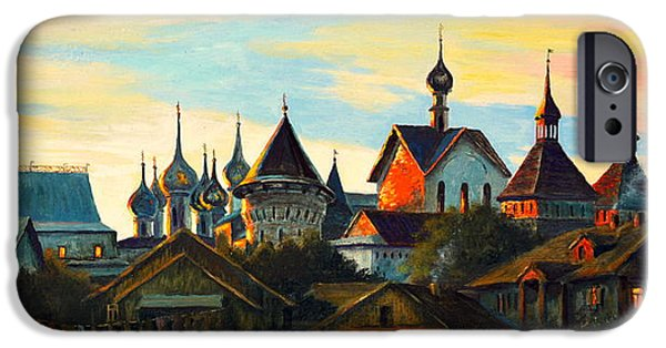 Church Pillars Paintings iPhone Cases - Sunset in Rostov iPhone Case by Henryk Gorecki
