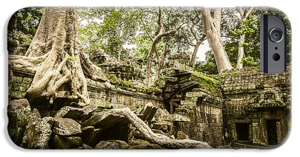 Buddhist iPhone Cases - Ta Prohm iPhone Case by Chas Hauxby