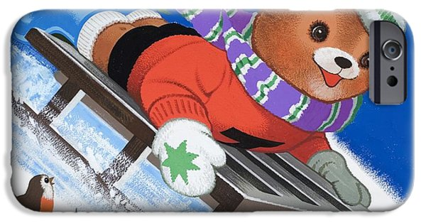 Cartoon Birds iPhone Cases - Teddy Bear Sleigh Ride iPhone Case by William Francis Phillipps