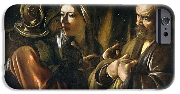 Caravaggio Paintings iPhone Cases - The Denial of Saint Peter iPhone Case by Celestial Images