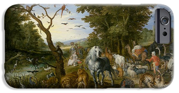 Ark iPhone Cases - The Entry of the Animals into Noahs Ark iPhone Case by Jan Brueghel the Elder