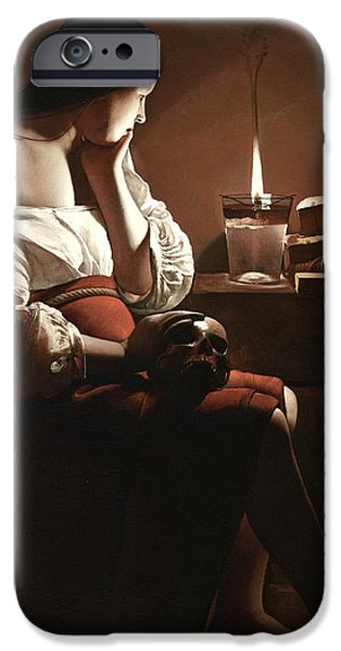 Interior Scene iPhone Cases - The Magdalen with the Smoking Flame iPhone Case by Georges de la Tour