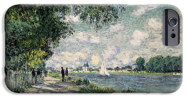 Pathway iPhone Cases - The Seine at Argenteuil iPhone Case by Claude Monet