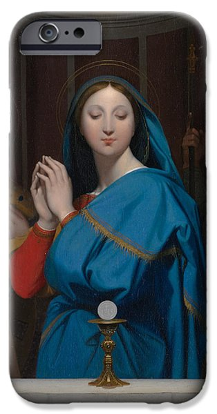 Jesus Drawings iPhone Cases - The Virgin Adoring the Host iPhone Case by Jean Auguste Dominique Ingres