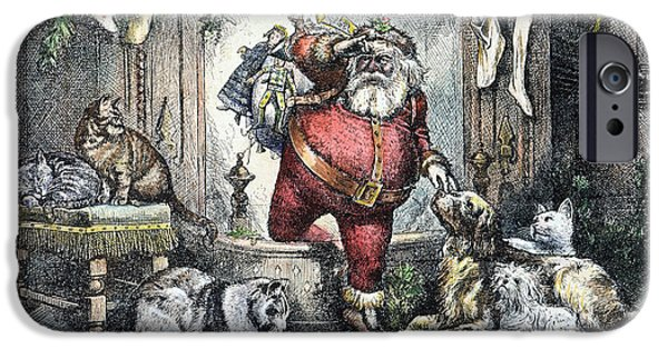 Nast iPhone Cases - Thomas Nast: Santa Claus iPhone Case by Granger