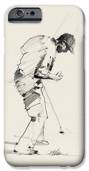 The Tiger Drawings iPhone Cases - Clutch Putt iPhone Case by David Kilmer