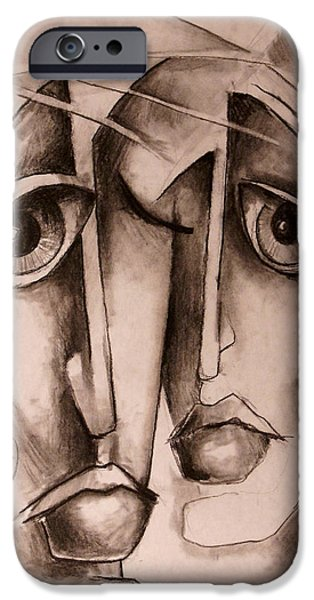 Monotone Paintings iPhone Cases - Together iPhone Case by Michael Lang