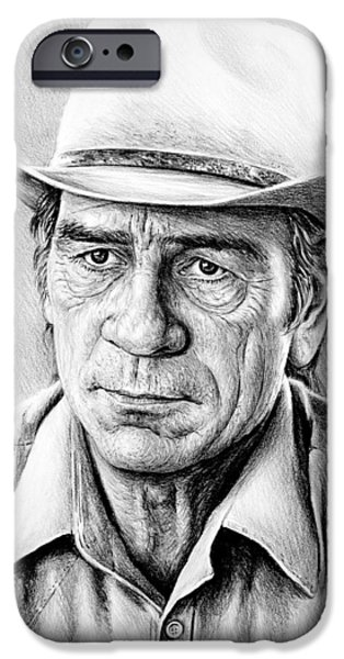 Celebrities Art Drawings iPhone Cases - Tommy Lee Jones iPhone Case by Andrew Read