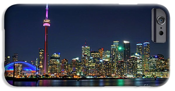 Business iPhone Cases - Toronto Night Skyline iPhone Case by Charline Xia