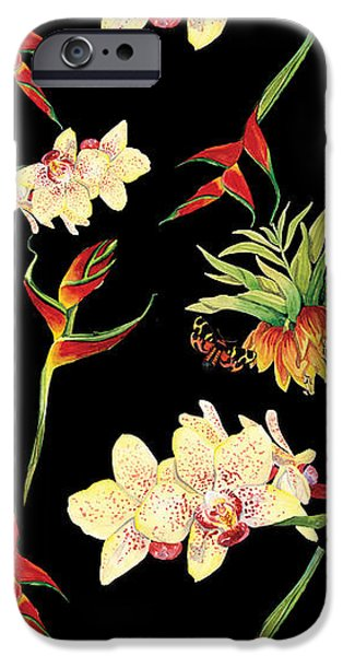 Botanical iPhone Cases - Tropical Island Floral Half Drop Pattern iPhone Case by Audrey Jeanne Roberts
