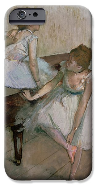 Signed Pastels iPhone Cases - Two Dancers Resting iPhone Case by Edgar Degas