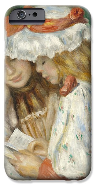 Cute. Sweet iPhone Cases - Two Girls Reading iPhone Case by Pierre Auguste Renoir