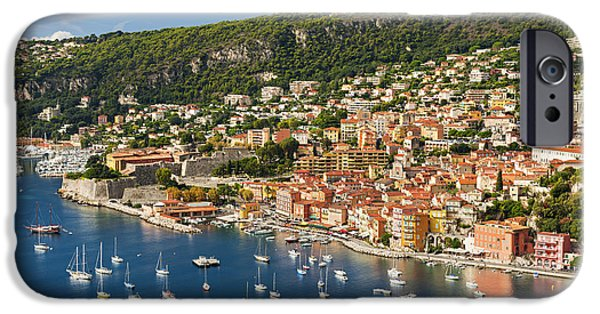 Boat iPhone Cases - Villefranche-sur-Mer view on French Riviera iPhone Case by Elena Elisseeva