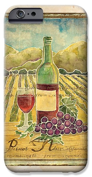 Red Wine iPhone Cases - Vineyard Pinot Noir Grapes n Wine - Batik Style iPhone Case by Audrey Jeanne Roberts