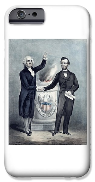 Patriotism Mixed Media iPhone Cases - Washington and Lincoln iPhone Case by War Is Hell Store