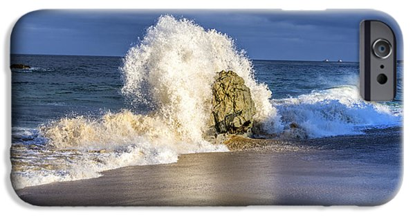Power iPhone Cases - Wave Meets Rock iPhone Case by Joseph S Giacalone