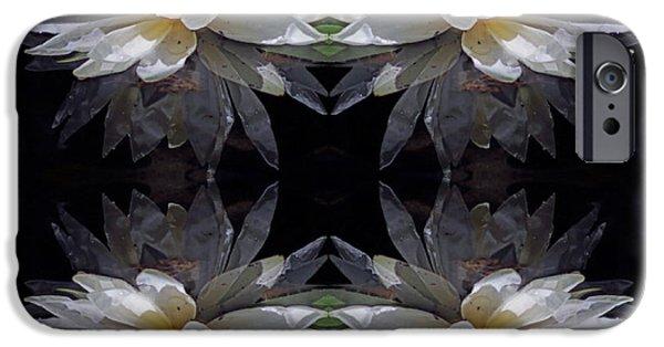 Nature Center Pond iPhone Cases - White Lotus Mandala iPhone Case by Daniel Unfried