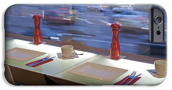 Business Photographs iPhone Cases - Window Seating in an Upscale Cafe iPhone Case by Jaak Nilson