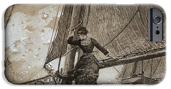 Yachting iPhone Cases - Yachting Girl iPhone Case by Winslow Homer