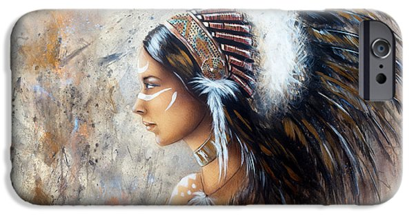 Native American Spirit Portrait iPhone Cases - Young Indian Woman Wearing A Big Feather Headdress A Profile Portrait On Structured Abstract Backgr iPhone Case by Jozef Klopacka