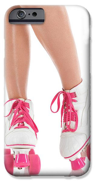 Roller Skates iPhone Cases - Young Woman Wearing Roller Derby Skates iPhone Case by Oleksiy Maksymenko