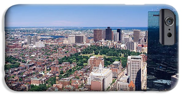 Reflections In River iPhone Cases - Aerial View Of Buildings In A City iPhone Case by Panoramic Images
