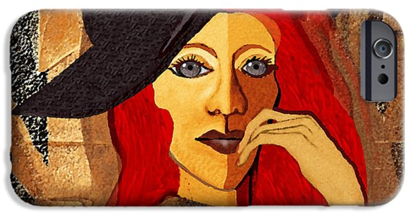 Woman With Black Hair iPhone Cases - 200 - Woman with black hat .... iPhone Case by Irmgard Schoendorf Welch