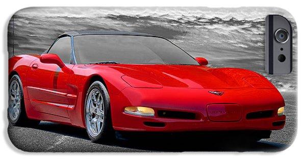 Circuit iPhone Cases - 2005 Corvette C5 Convertible iPhone Case by Dave Koontz