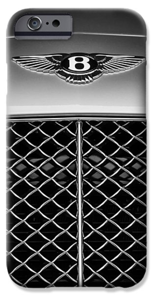 2007 iPhone Cases - 2007 Bentley Continental GTC Convertible Emblem -2435bw iPhone Case by Jill Reger