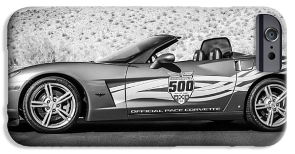 Indy Car iPhone Cases - 2007 Chevrolet Corvette Indy Pace Car -0003bw2 iPhone Case by Jill Reger
