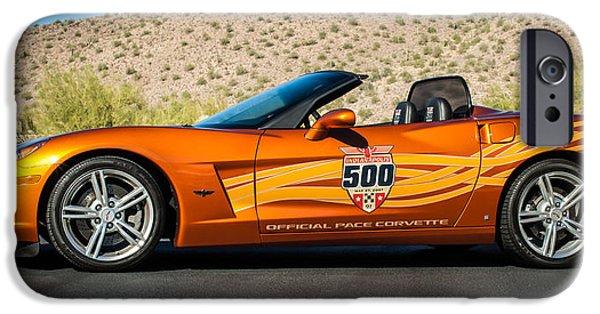 Indy Car iPhone Cases - 2007 Chevrolet Corvette Indy Pace Car -0003c2 iPhone Case by Jill Reger