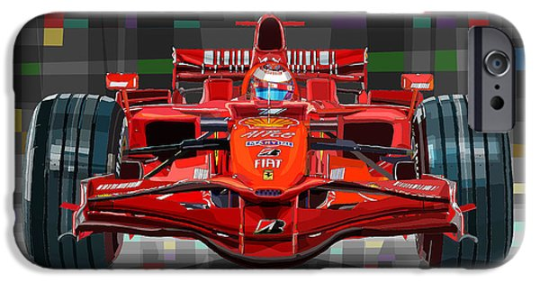 Racing Mixed Media iPhone Cases - 2008 Ferrari F1 Racing Car Kimi Raikkonen iPhone Case by Yuriy Shevchuk