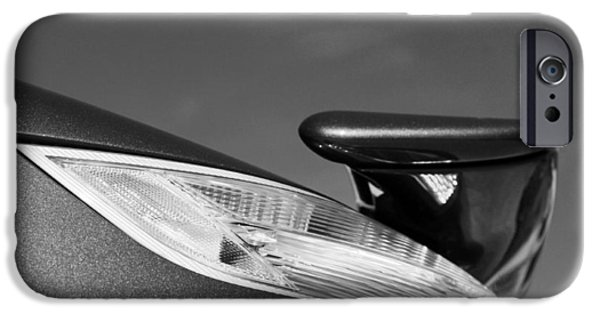 Turbo iPhone Cases - 2008 Porsche Turbo Cabriolet Tail Fin black and white iPhone Case by Jill Reger