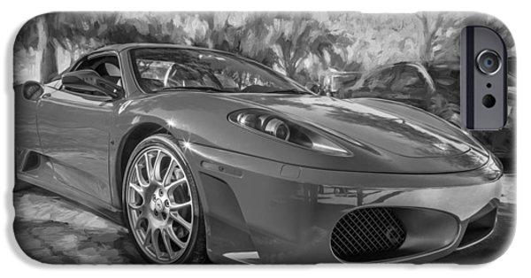 2009 iPhone Cases - 2009 Ferrari F430 Spider Convertible Painted BW iPhone Case by Rich Franco