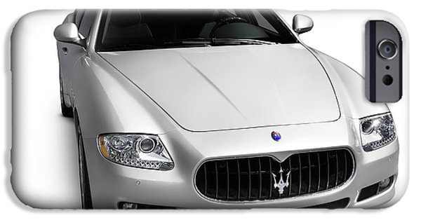 Sportcars iPhone Cases - 2009 Maserati Quattroporte S iPhone Case by Oleksiy Maksymenko