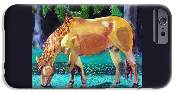 Horse Racing Pastels iPhone Cases - 2009081315 Grazing Horse iPhone Case by Garland Oldham